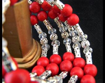 Red Magnesite Beads Memory Wire Bracelet.