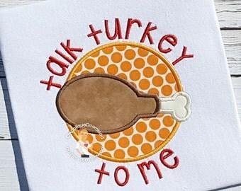 Turkey Leg Applique Design - Talk Turkey To Me - Turkey Applique - Instant EMAIL With Download