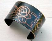 Etched Copper cuff bracelet, Patinated copper bracelet with Roses, Copper bracelet with Art Noveau Roses, Boho copper bracelet, Blue cuff