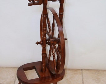 Vintage 8 spoke compact Spinning Wheel walnut finish