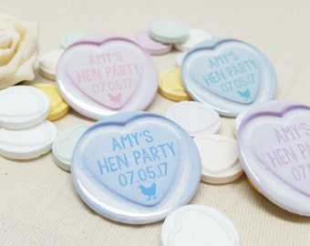 Personalised Quirky Heart Love Hearts Sweets Hen Party / Wedding / Team Bride Badge / wedding accessories - (or pocket Mirror)