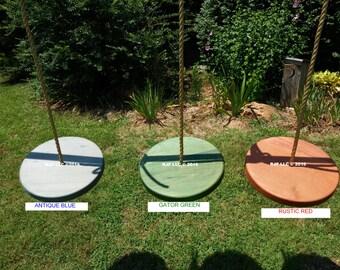 Wood Tree Swing- Poplar Disc- Ghost Stain Series- 15 1/2 Diameter x 1 3/4 Thick