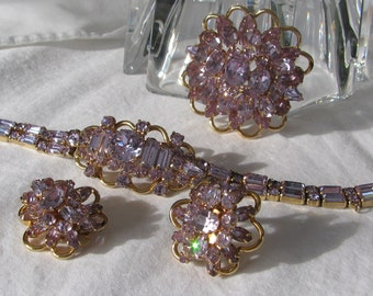 Exceptional KRAMER  of New York Signed Alexandrite Parure, Color Changing Blue to Lavender, Bracelet, Brooch & Matching Earrings, Repaired