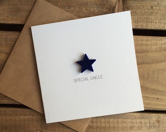 Special Uncle Card with Navy Blue detachable magnet keepsake