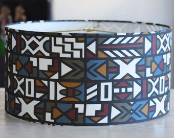Tribal Lamp Shade Pendant, Afrocentric Lampshade, Ndebele Pattern Inspired Lampshade