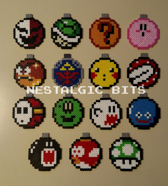 COMPLETE SET OF 15 Handmade Nintendo Christmas Ball Ornaments