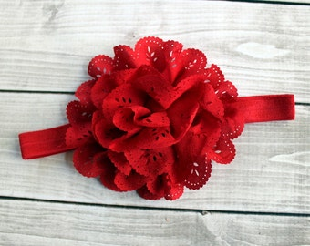 Red Flower Headband, Newborn Headband, Baby Headband, Infant Headband, Baby Girl Headband, Valentines Headband,