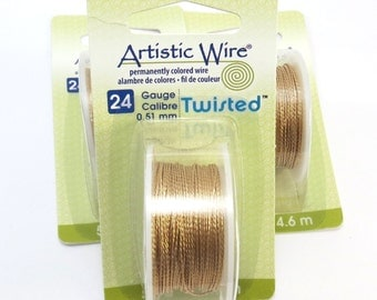 24 Gauge Gold Wire, Brass Artistic Wire, 24 Gauge Twisted Gold Wire, 5 Yards, Non-Tarnish Brass Wire for Wire Wrapping, Item 1001wr