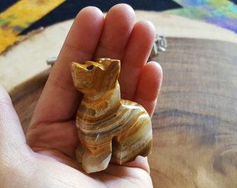 Pakistani Onyx Wolf ~ One Reiki Infused gemstone wolf approx 2 inches (W16)