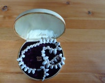 White pearls, sea shelves, shocker in Jewelry Box 12 KT gold filled edged. Anson Jewelry.