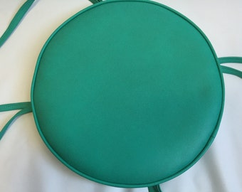 """Large Turquiose Vinyl Stool/Chair Pillow with Straps, Retro, 14-1/2"""" Wide."""