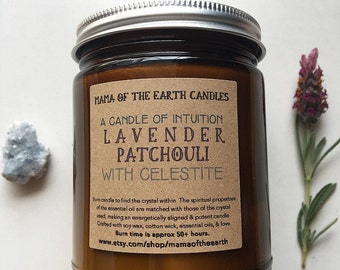 Lavender Patchouli Essential Oil Soy Candle- Aromatherapy Candle of Intuition