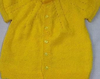 Baby Soft Knit Yellow Vest, Knitting Baby Vest,Baby Wear Knitting Vest