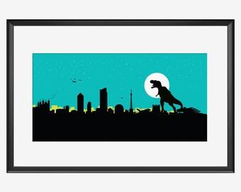 Lyon skyline print, T-Rex print, Dinosaur print, Lyon France art, Lyon print, Lyon poster, Kaiju print, Kaiju poster, Dinosaur poster, gift