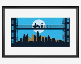 Philadelphia Skyline print, Terminator inspired Print, Philadelphia art, Philadelphia print, Philadelphia poster, Terminator print, poster