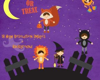 Halloween Kids Costume Clipart Set - Trick or Treat Clip Art Pack - Digital - Graphics - Witch - Monster - Bunny - Cat - Ninja - 18 Pieces