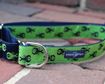 """1"""" Blue & Green Lobsters Martingale Collar"""