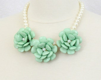 Mint Green Flower Bib Necklace Floral Statement Necklace Beaded Rose Necklace
