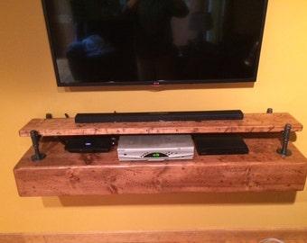 Rustic, Floating, Black Iron TV Wall Shelf