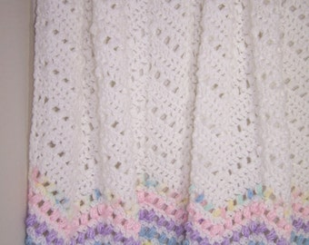 Crocheted Baby Ripple Afghan White with 6 Rows of Color