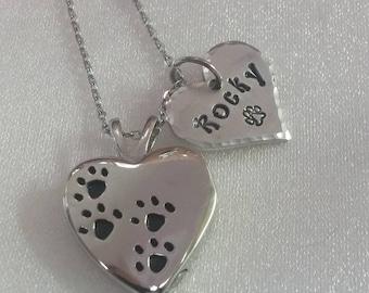 Pet Cremation Urn - Pet Memorial - Remembrance Keepsake -  Personalized Pet Urn - Pet Remembrance Necklace - Pet Urn - Paw Print Urn