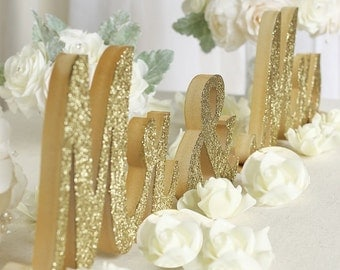 "LARGE (30"") quality Mr & Mrs glitterSign Set for Wedding Sweetheart Table, home decorations"