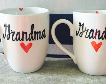 Grandma and Grandpa coffee mug set- coffee mug set- grandmother and grandfather- grandparents - new grandparents coffee mug set-