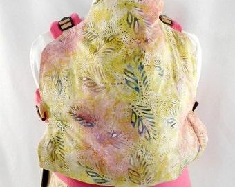 Pastel Batik Linen Full Buckle Baby Carrier, Summer Babywearing, Pink Girls Baby Carrier, Linen Sling SSC, Toddler Carrier, Back Carry