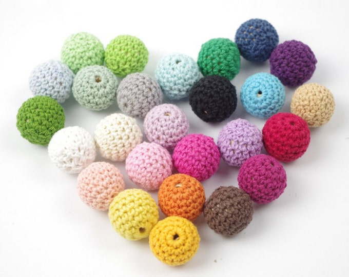 Crochet Beads Wholesale Bulk HandMade 30pc/lot 16mm Round Mix Colors Ball Knitting Baby Shower Ideas Girls