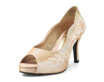 Jill Gold Glitter Lace Lower Heel, Glitter Gold Bridal Heel, Gold Lace Wedding Shoe, Floral Lace Gold Wedding Heels