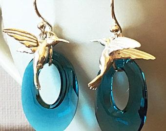 Hummingbird Swarovski Crystal Earrings Indicolite Teal Green Teal Blue Dark Turquoise Swarovski Helios Silver Colibri Unique Spring Summer