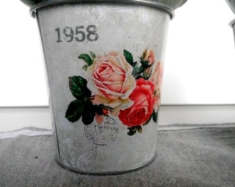 Pot, metalic pot, flower pot, flower bird pot,pink pot, fuksia pot , flower in pot,garden pot,garden decoration,