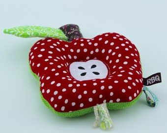 Apple Baby Rattle sensory soft toy out of red & white dots Cotton and Terry Fabric
