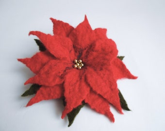 Felted poinsettia brooch, red flower brooch, christmas flower brooch, gift idea, felted flower, felt flower brooch, flower brooch