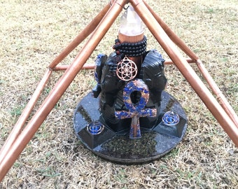Orgone Super Powerful Buster- Brazilian Crystal, 3 Orgone pyramids, 3 Ankhs, 3  Pharaohs, Shungite, Phenacite, Lapis, 10 in tall 10 in base