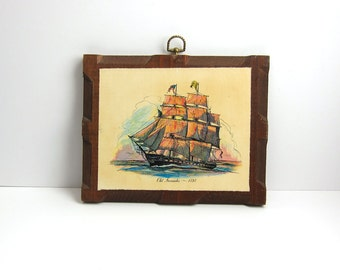 Vintage Nautical Sailing Clipper Ship Wood Plaque Old Ironsides 1797