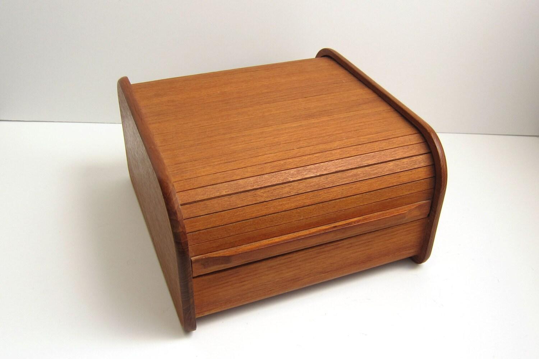 Kalmar Designs Teak Wood Tambour Roll Top Desk Storage