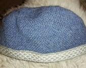 Blue 100% wool Nalbinded Viking hat
