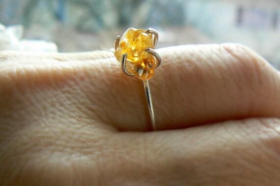 Raw citrine silver ring- Citrine rough gemstone ring size 8- Dainty sterling silver citrine ring- Fashion citrine ring- Boho women ring gift