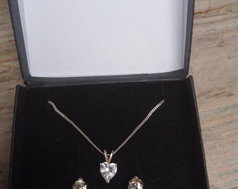 Sterling silver boxed heart CZ necklace and earrings set