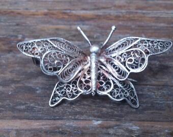 vintage filigree silver butterfly brooch