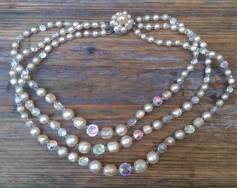 vintage pearl and faceted glass bead three strand necklace