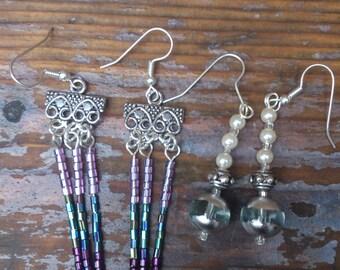 Two pairs of vintage beaded earrings