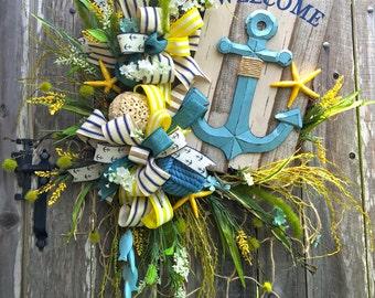 Nautical Grapevine, Welcome Nautical Wreath, Anchor Grapevine, Anchor Wreath, Nautical Decor, Beach Decor, Beach Wreath, Price REDUCED