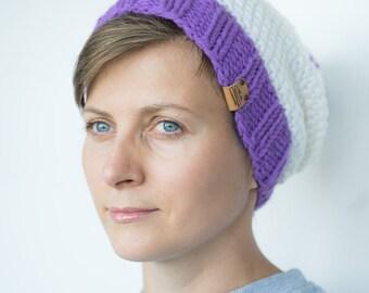 Women's Knit Hat / White Hat / Knitted Beanie / Wool Hat / Sale