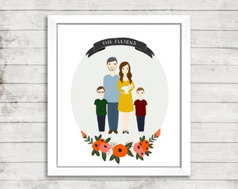 Custom Family Portrait Illustration   Full Body   Hand Illustrated   Floral Wreath   Wedding Gift   Anniversary Gift   Personalized Gift