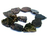 "15"" Aqua Terra Jasper Black slab focal freeform nugget gemstone Beads - snakeskin - Impression Jasper"