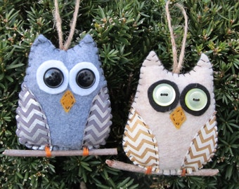 Felt owl duo ornaments on a branch, gray felt with silver chevron wings, oatmeal felt &gold chevron wings, rear view mirror hanger, gift tag