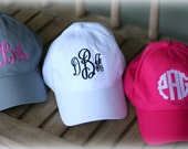 Ladies  Monogrammed Baseball Hat-Monogrammed Women's monogram Cap-Embroidered Hat-Personalized Hat-Velcro Closure-2017 New Color Khaki