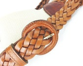 Shop Pick! Braces or suspenders woven braided tobacco brown leather with woven cream back detail. Classic & classy